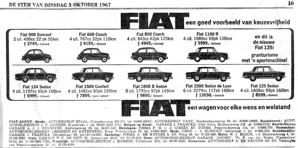 Fiat 850 advertentie in de stem